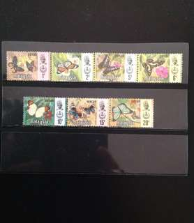 Malaysia 1971 Perak Butterfly Series 7V Mint (0435)