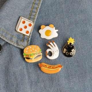 #197 tumblr food egg burger dice bomb sausage enamel pin | po
