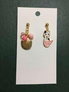 Handmade pink mermaid cat earrings
