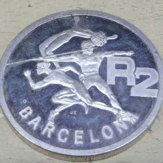 SOUTH AFRICA 1992 BARCELONA OLYMPIC GAMES 1oz 2 RAND SILVER 925