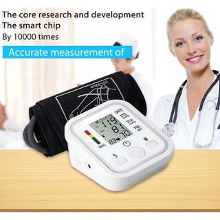 🚚 Automatic Digital LCD Arm Blood Pressure Monitor LCD Heart Beat Home Sphgmomanometer (White)