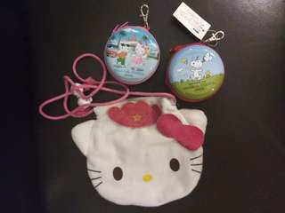 Hello Kitty & Snoopy. (FREE POS) Purse(3 items)