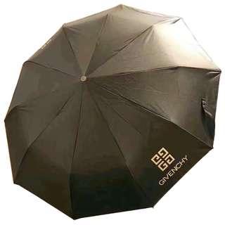 全新 GIVENCHY 會員贈品 黑色(自動開關)真皮手柄/遮套雨傘 Umbrella 連原裝盒