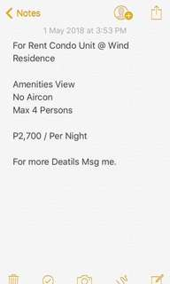 For Rent Condo Units @ Wind Residence