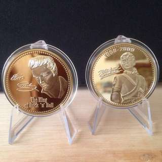 Elvis & Michael Jackson gold plated coin/token