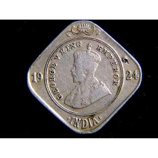 1924年英屬印度(British India)英皇佐治五世像2安那(Annas)菱形鎳幣