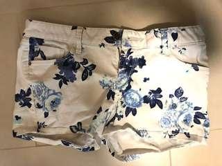 Blue floral shorts