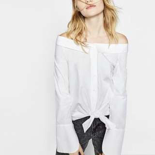 White Off Shoulder Bell Sleeves Top