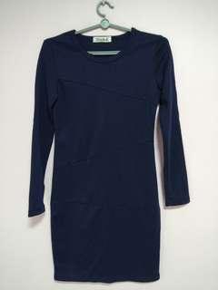 Green Apple Navy Blue Long Sleeve Bodycon Dress