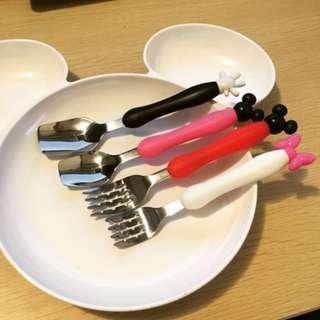🌻現貨 卡通造型餐具不銹鋼叉勺套裝