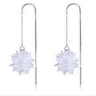 S925 Silver Long Female Earrings