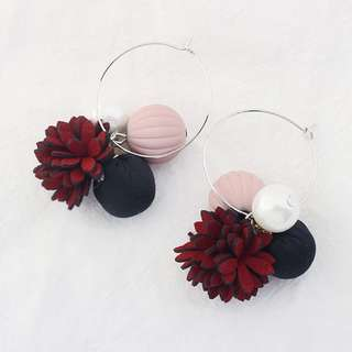 [A67] Floral Pom Pom Tassel Loop Earrings