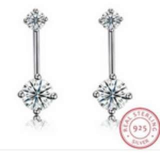 S925 Silver Inlaid Zircon Stud Earrings