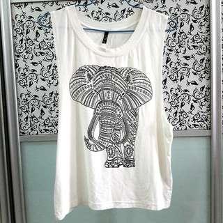 Ivory White Tribal Elephant Printed Sleeveless Muscle Tank Top