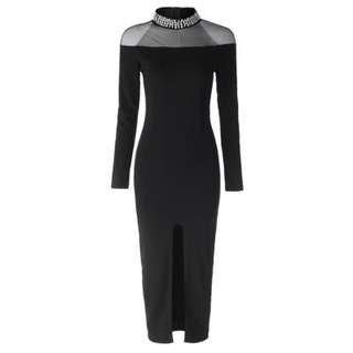 collared bodycon with slit