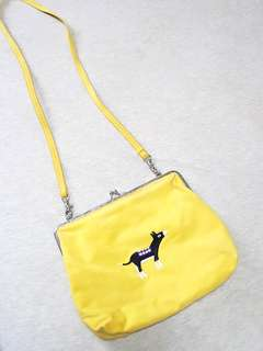 Woman's Yellow Embroidery Donkey Clutch Sling Bag