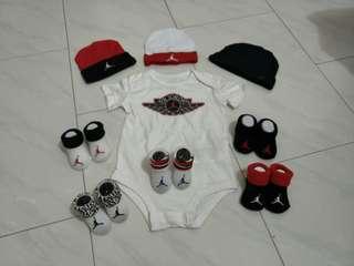 Jordan romper infant newborn 0 6 12 months white set red