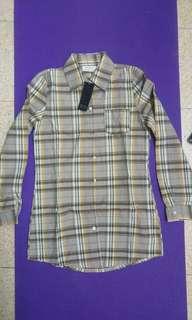 🚚 全新@韓國帶回經典不拜百搭假男友襯衫格子系列修身腰型長版立領襯衫ㄧ件多穿罩衫防曬外套長版洋裝