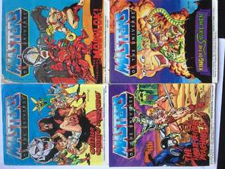 1980s Mattel DC Masters of the Universe MOTU Toy Mini Comic Set of 4 Fair Condition Set 1