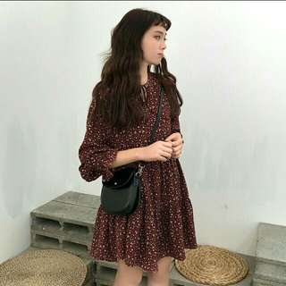 Korea Ulzzang Long Sleeve Floral Chiffon Dress