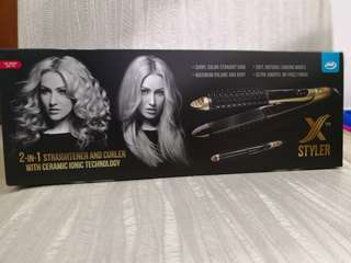 Brand new in box 2 in 1 straightener and curler with ceramic ionic technology