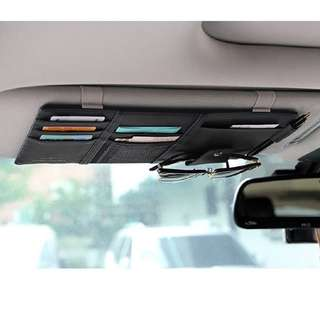 Black Car Sun Visor Organizer - Auto Interior Accessories Pocket Organizer, Registration And Document Holder, Personal Belonging Storage Pouch Organizer, Interior Accessories Pocket Organizer