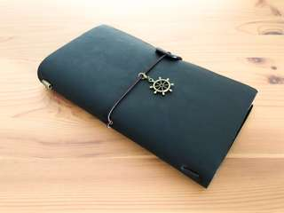 (Charcoal Black) Customisable Leather Travel Journal (Traveler's Notebook)