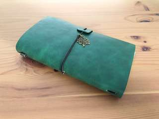(Deep Green) Customisable Leather Travel Journal (Traveler's Notebook)