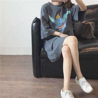 👉🏻寬鬆小飛象長T恤👈🏻 顯白 可當連衣裙 韓版 顯瘦 修身 迪士尼 短袖T恤 裙子 短洋裝 大象 休閒 舒適 金門