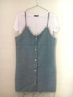 2-piece denim slip dress