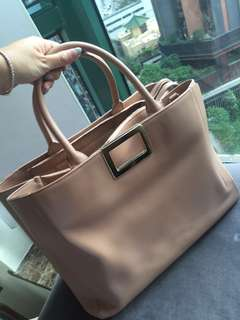Roger vivier pink blush beige tote with champagne gold hardware