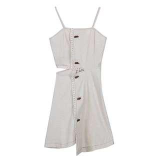 🔱⏳ Linen Bohochic frayed cut out Detail Dress
