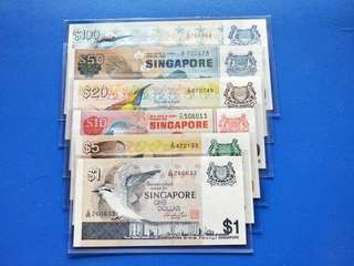 Singapore banknotes bird Series $1-$100