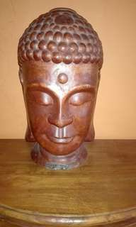 Wood Buddha Head Collection H18'' X W8''