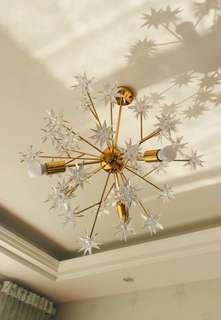 Gold icy chandelier drop light pendant light