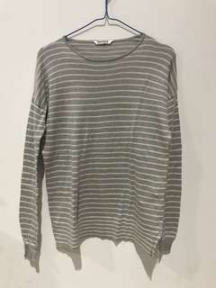 Pull&Bear Basic Striped Knitted Top Grey