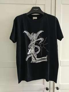 Saint Laurent Paris YSL Logo Black Cotton Tee Size M