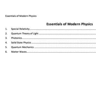 H3 Essentials of Modern Physics Notes
