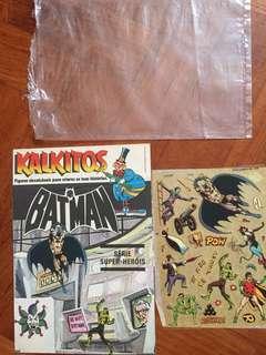 Rare 1978 vintage Kalkitos Rub-down Transfer Batman Unused