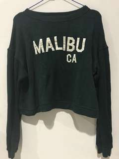 Pull&Bear Cropped Army Sweater