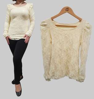 Korean Style Yellow Lace Pullover