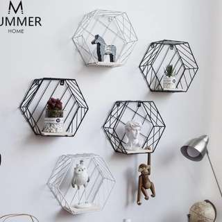 Scandinavian Hexagonal Wall Rack Shelf