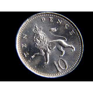 1992年英國(Britain)英格蘭雄獅10便士(Pence)鎳幣(英女皇伊莉莎伯二世像,好品)