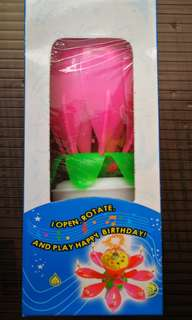 Flower musical Rotating Birthday Candle Light