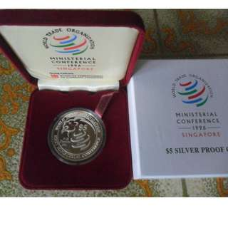 1996 Singapore WTO Ministerial Conference $5 Silver Proof Coin.