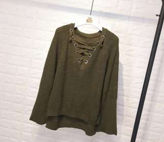 OLIVE GREEN KNITTED PULLOVER