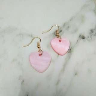 粉紅心型貝殼耳環 包郵