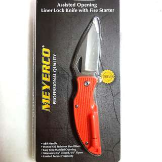 Meyerco Assisted Opening Survival Folding Knife With Fire Starter 2-in-1 Camping Tool