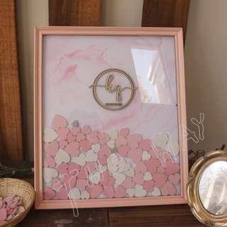 Wedding guest book - heart drop frame