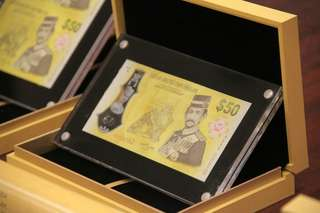 Brunei Golden Jubilee Commemarative $50 Polymer with Special Prefix ( HB Hassanal Bolkiah) Limited to 4000 sets only